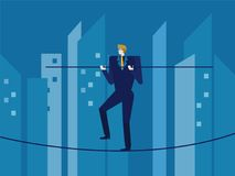 Man in suit balances on the rope. royalty free illustration