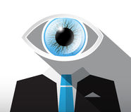 Man in Suit with Big Blue Eye. Abstract Vector Businessman Illustration Stock Images