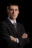 Man in suit on black Royalty Free Stock Photos