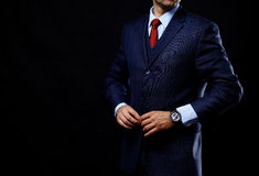 Man in suit on black background Royalty Free Stock Photo