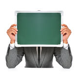 Man in suit with a blank chalkboard Stock Photos