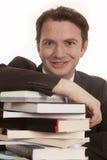 Man suit books close looking Stock Photos
