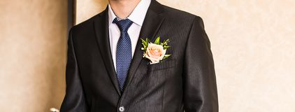 Man in a suit with boutonniere Stock Photo