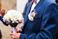 Man in a suit with boutonniere Royalty Free Stock Images