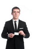 Man in the suit with business card Royalty Free Stock Image