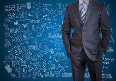 Man in suit and business plan Royalty Free Stock Photo