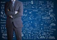 Man in suit and business plan Stock Images