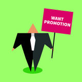 Man in suit. Businessman asks for raise. Man in suit holding  poster want promotion. Flat icon business career. Vector illustration Royalty Free Stock Photo