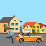 Man in suit catch a taxi. Man in suit catch a taxi in city. Vector illustration Royalty Free Stock Photo