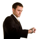 Man in Suit Checking Watch Concerned Royalty Free Stock Photo