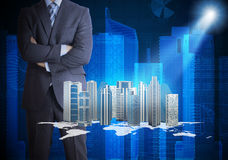 Man in suit and city of skyscrapers Royalty Free Stock Photography