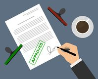 Man in suit claims contract by stamp. And sign on table with coffee. Document approval vector illustration in flat design. Hand puts signature in the document Stock Illustration