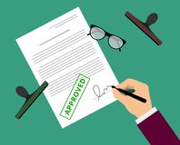 Man in suit claims contract by stamp. And sign on table with glasses. Document approval vector illustration in flat design. Hand puts signature in the document Vector Illustration