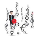 Man in Suit with Cogs Vector stock illustration