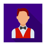 The man in a suit. The croupier, the person who follows the game in the casino.Kasino single icon in flat style vector Royalty Free Stock Image