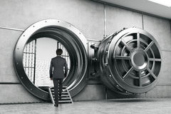 Man in suit entering the vault. Rear view of man in suit entering the vault of the bank. Concept of bank employee. 3d rendering stock photo