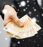 Man in suit with euro cash money Royalty Free Stock Images