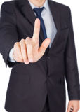 Man suit finger touch Royalty Free Stock Image