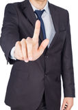 Man suit finger touch Stock Image