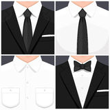 Man in suit. Flat design. Man in white shirt. Man in white shirt and black tie. Manin smoking.  and black bow tie. Vector illustration Royalty Free Stock Photography