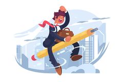 Man in suit fly on pencil. Vector illustration. Happy man raise hand cheerful gesture flat style design. Beginning of new project and effective startup vector illustration