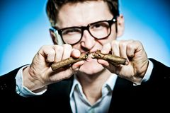 Quit smoking !. Man in suit and glasses - breaking a cigar Royalty Free Stock Photography