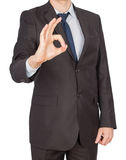 Man suit hand ok Stock Photo