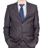 Man suit hand pockets Royalty Free Stock Photo