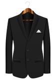 Man suit on hanger. Man black suit on wooden hanger Royalty Free Stock Image