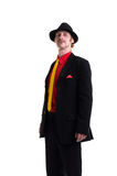 Man in suit and hat on white Royalty Free Stock Photo