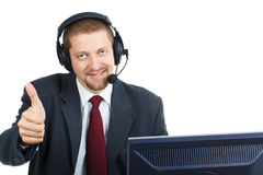 Man in suit with headset Stock Image