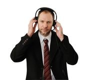 Man in suit with headset Royalty Free Stock Images