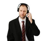 Man in suit with headset isolated Stock Photo
