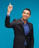 Man in suit with his finger up Royalty Free Stock Photography
