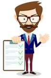 Man in a suit hold list of tasks. Royalty Free Stock Image