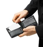Man in suit holding credit card Royalty Free Stock Photos
