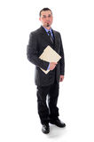 Man in suit holding file folder smiling Royalty Free Stock Photo