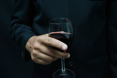 man in suit holding glass of wine Stock Photos