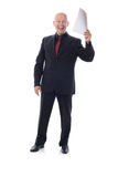 Man in suit holding good news Royalty Free Stock Image
