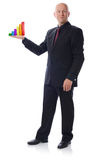Man in suit holding growth chart. On white background Royalty Free Stock Images