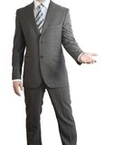 Man in suit holding his hand before him Royalty Free Stock Image