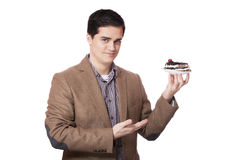 Man in suit holds cake, isolated on white Royalty Free Stock Image