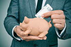 Man in suit introducing a pound sterling bill in a piggy bank Stock Images