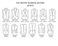 Man suit jackets library - Technical and industrial collection of man`s jackets Royalty Free Stock Photo