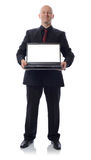 Suit with laptop Royalty Free Stock Photos