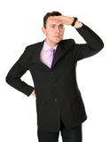 Man in suit looking far Stock Photo
