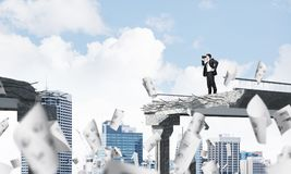 Man in suit looking up for new ideas. Stock Photography