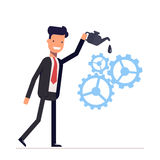 Man in suit lubricates the gear mechanism oil. The debugged work. Vector, illustration EPS10. Stock Photography