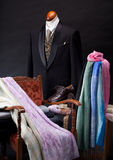 Man suit on mannequin and cloths Royalty Free Stock Photography