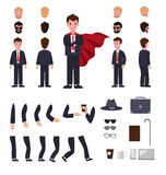 Man in Suit with Mantle. Character Creation Set. Different faces, various views of person. Bended hands, legs. Hat, stick, glasses, cup, notebook. Build your Royalty Free Stock Image
